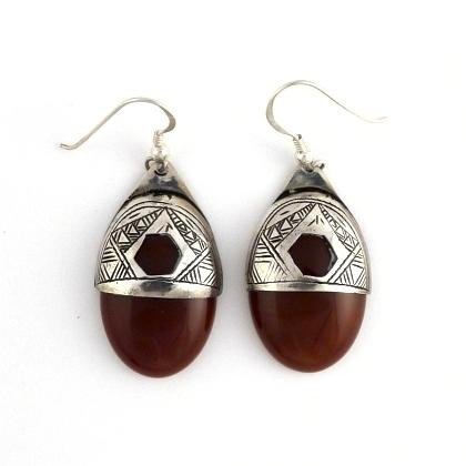 Cercei tuaregi argint și cornalină