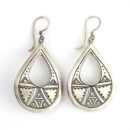 Cercei tuaregi alungiți, argint