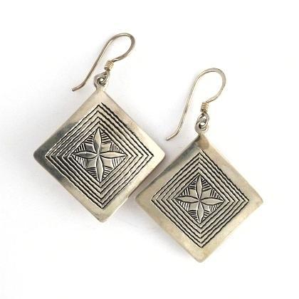 Cercei tuaregi pătrat, argint