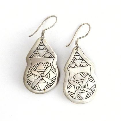 Cercei tuaregi gravați, argint