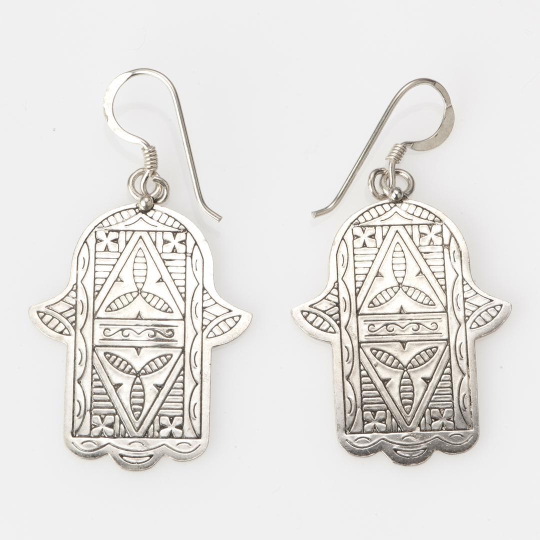 Cercei tuaregi hamsa mare argint