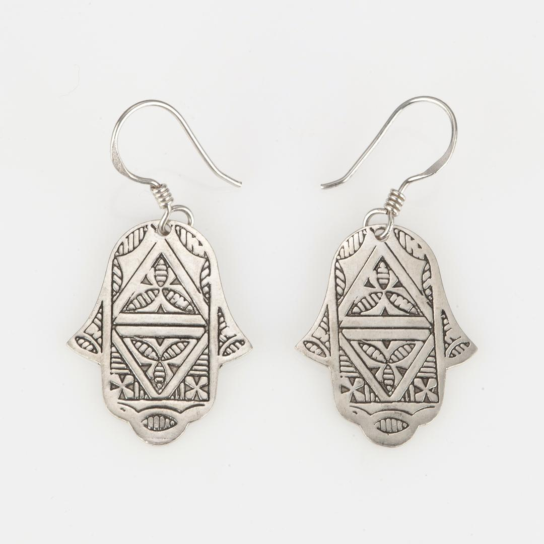 Cercei tuaregi hamsa mică, argint
