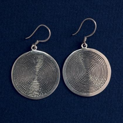 Cercei tuaregi spirală mare, argint