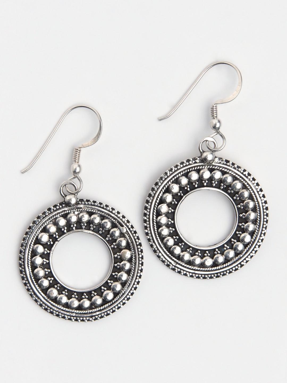 Cercei rotunzi din argint Kalindi, India