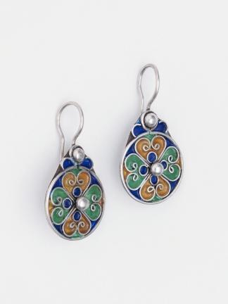 Cercei rotunzi din argint și email Zaida, Maroc