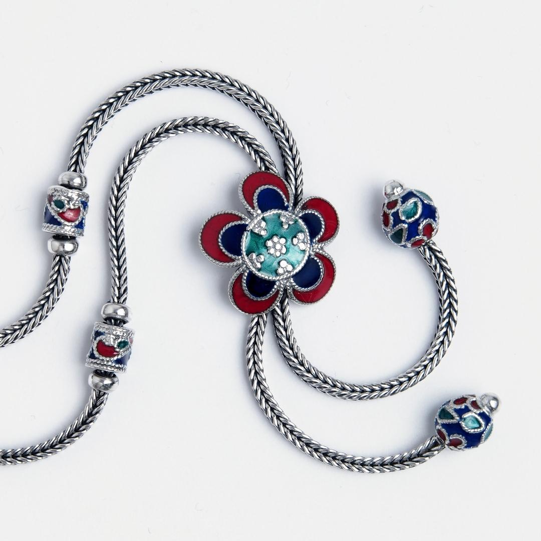 Colier lung floare Sang So, argint și email, Thailanda
