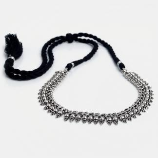 Colier statement din argint și șnur negru Dhagaa, India