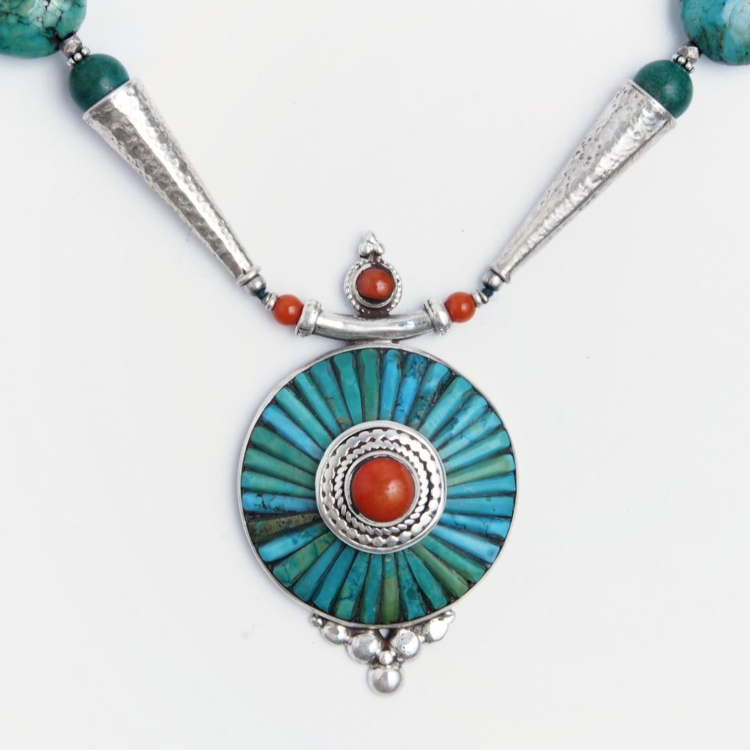 Colier statement mandala Bhaktapur, argint, coral, turcoaz tibetan, Nepal