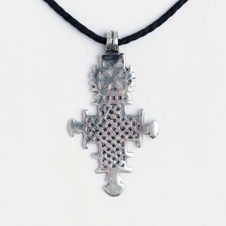 Cruce creștină etiopiană Aksum, argint, șnur de piele