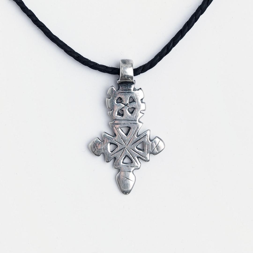 Cruce creștină etiopiană Gonder, argint, șnur de piele