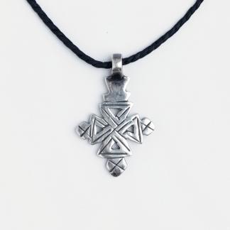 Cruce creștină etiopiană Welega, argint, șnur de piele