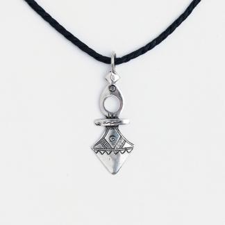 Cruce tuaregă mică Timia, argint, șnur de piele, Niger