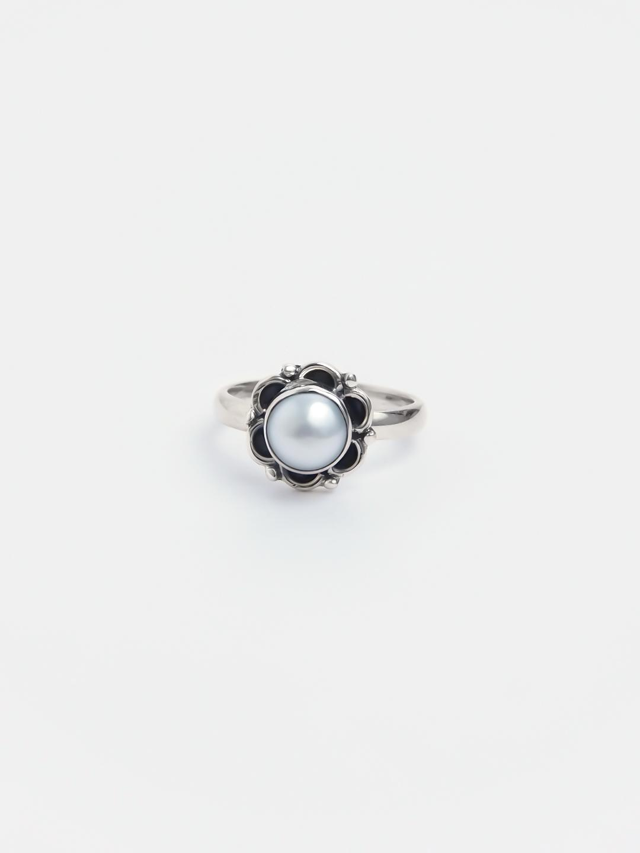 Inel argint și perlă de cultură Saphed, India