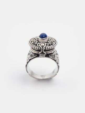 Inel statement argint și lapis lazuli Mugha, India