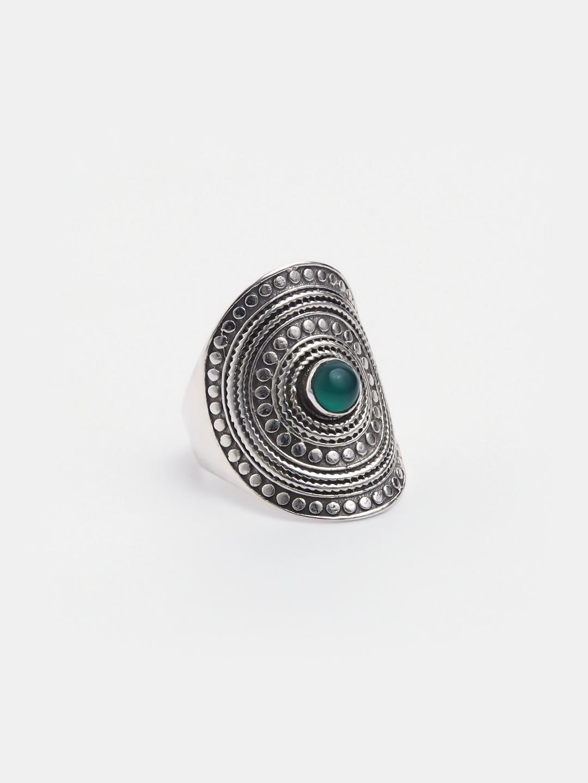 Inel argint și agat verde Pratyush, India