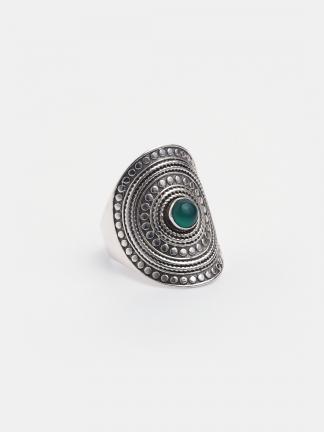 Inel argint și agată verde Pratyush, India