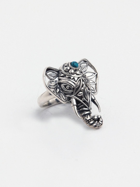 Inel unicat Ganesha argint și turcoaz, India