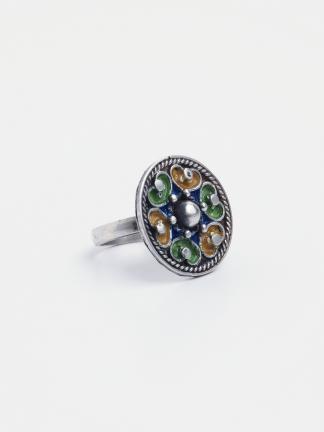Inel argint și email verde, galben și albastru Shams, Maroc
