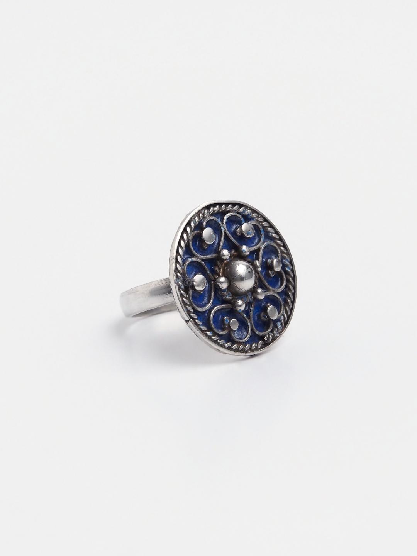 Inel argint și email albastru Shams, Maroc