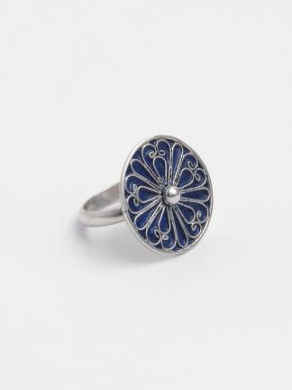 Inel unicat argint și email albastru, Maroc