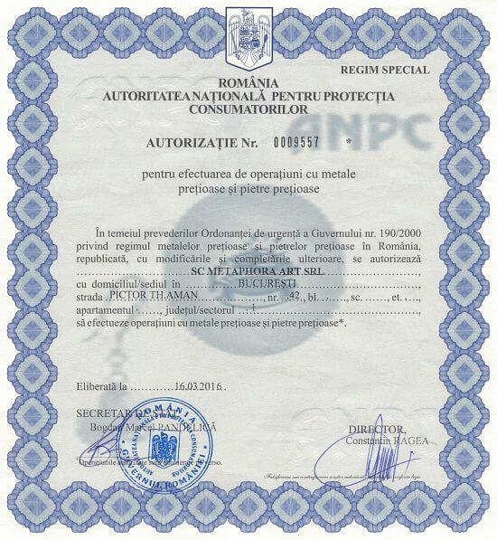 Autorizație ANPC pentru efectuarea de operațiuni cu metale prețioase și pietre prețioase cu numărul 0009557 - Metaphora