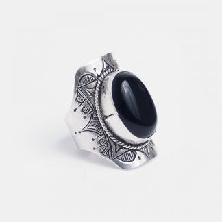Inel amuletă din argint și onix Timbuktu, Niger