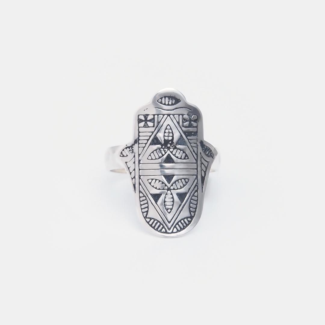 Inel amuletă hamsa din argint, Niger