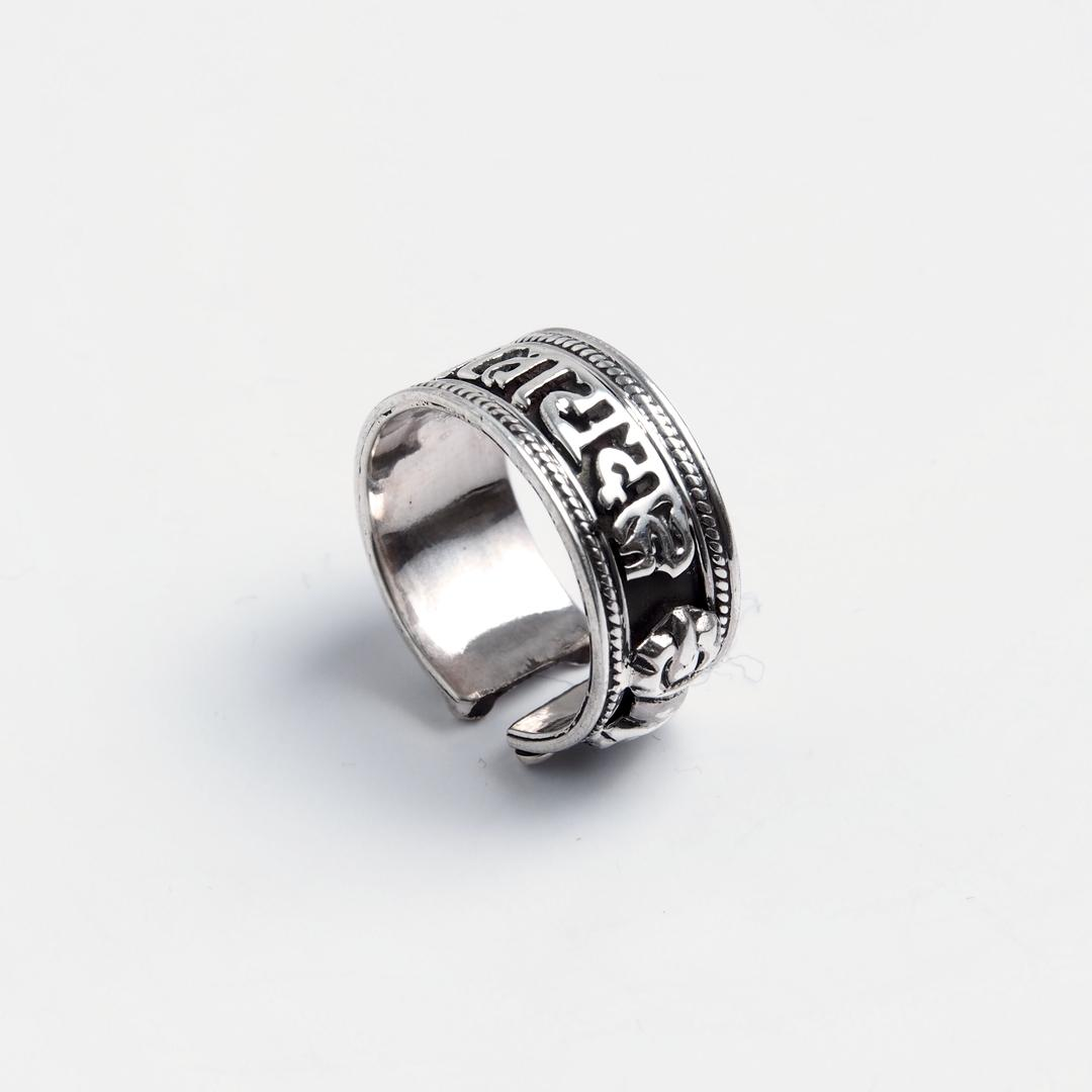 Inel amuletă OM MANI PADME HUM, argint, Nepal