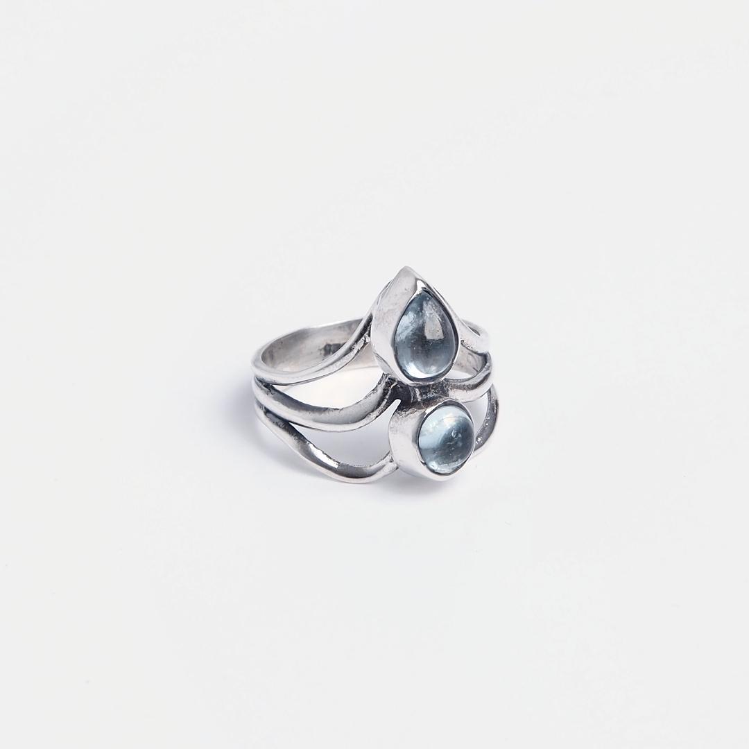 Inel din argint și acvamarin Khol, India