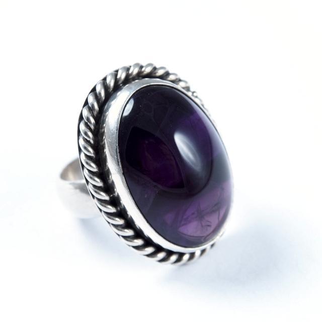 Inel argint și ametist, reglabil, India