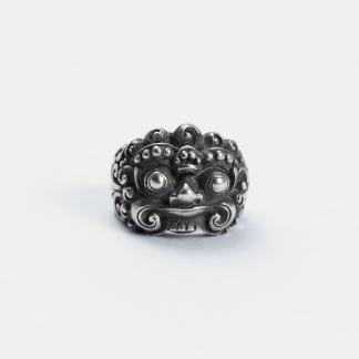 Inel amuletă Barong, argint, Indonezia