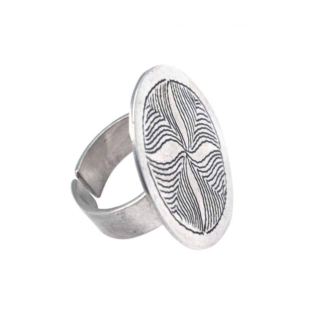 Inel argint, disc gravat spirala, Sahara