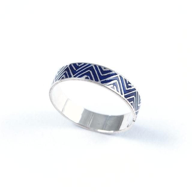 Inel argint și email albastru, zig-zag, India