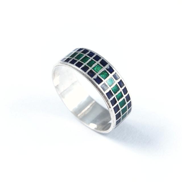 Inel argint, email verde și albastru, pătrățele, India