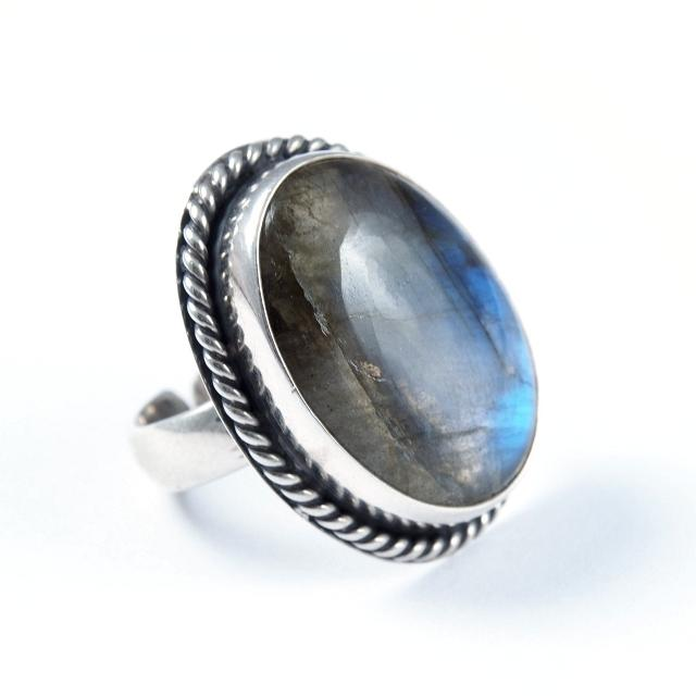 Inel argint și labradorit III, India