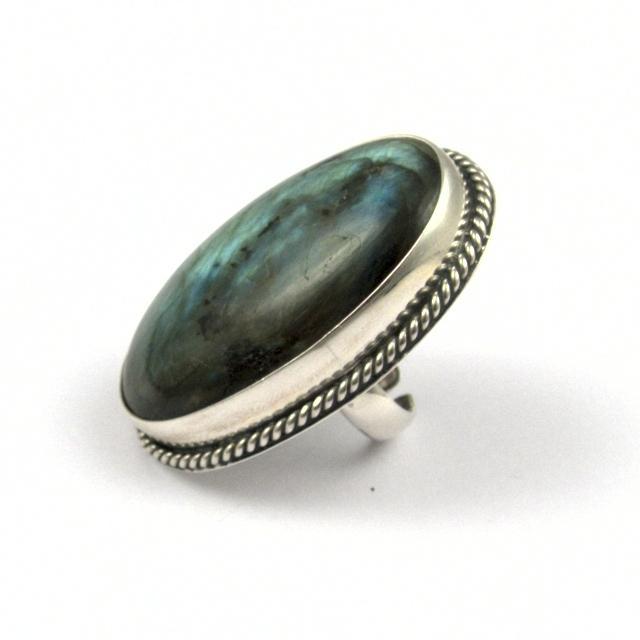 Inel argint și labradorit, oval II, India