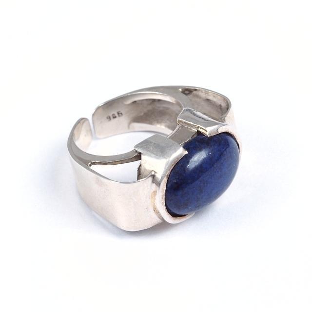 Inel argint și lapis lazuli caboșon, India