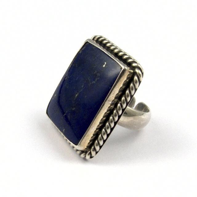 Inel argint și lapis lazuli, dreptunghi, India