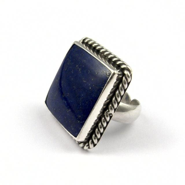Inel argint și lapis lazuli, pătrat, India