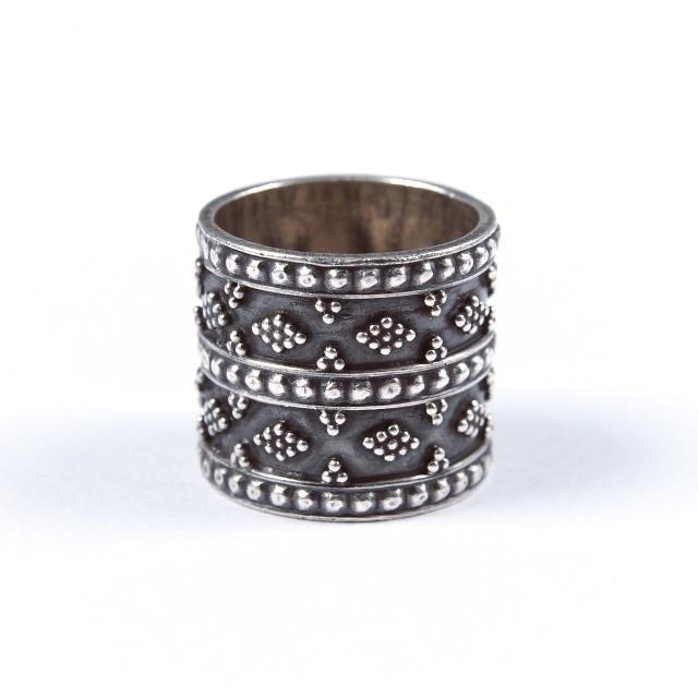 Inel argint lat, granulație, India