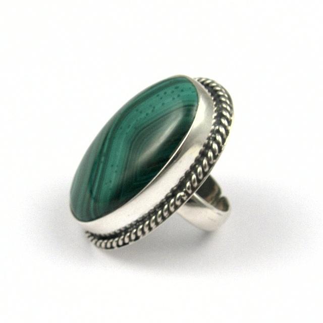 Inel argint și malachit I, India
