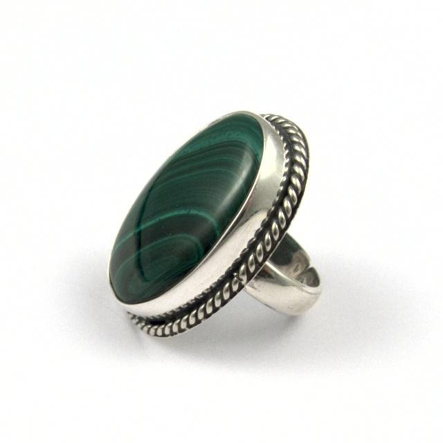 Inel argint și malachit II, India