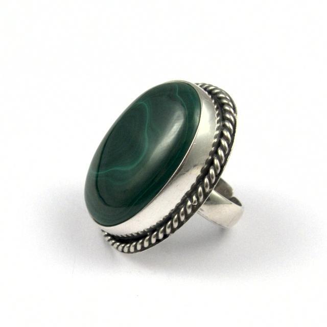 Inel argint și malachit III, India