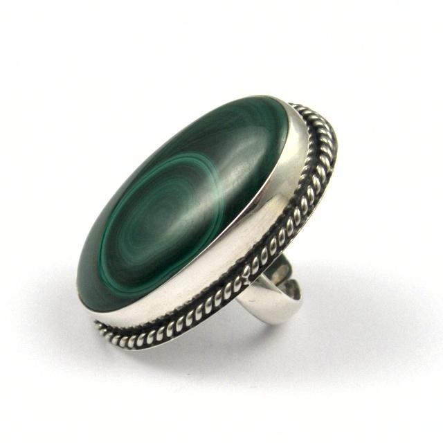 Inel argint și malachit IV, India