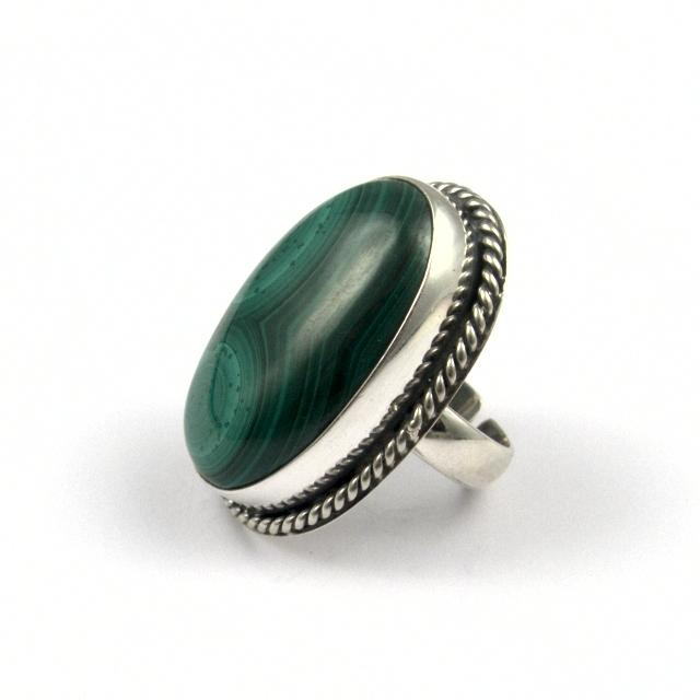 Inel argint și malachit V, India