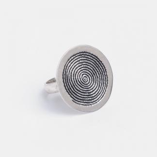 Inel rotund spirală Waza, argint gravat, Niger