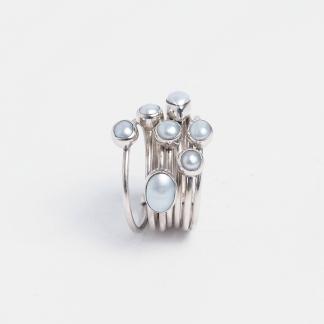 Inel din argint și perle de cultură Saatah, India