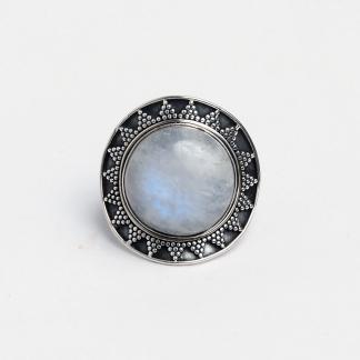 Inel argint și piatra lunii Madras, India