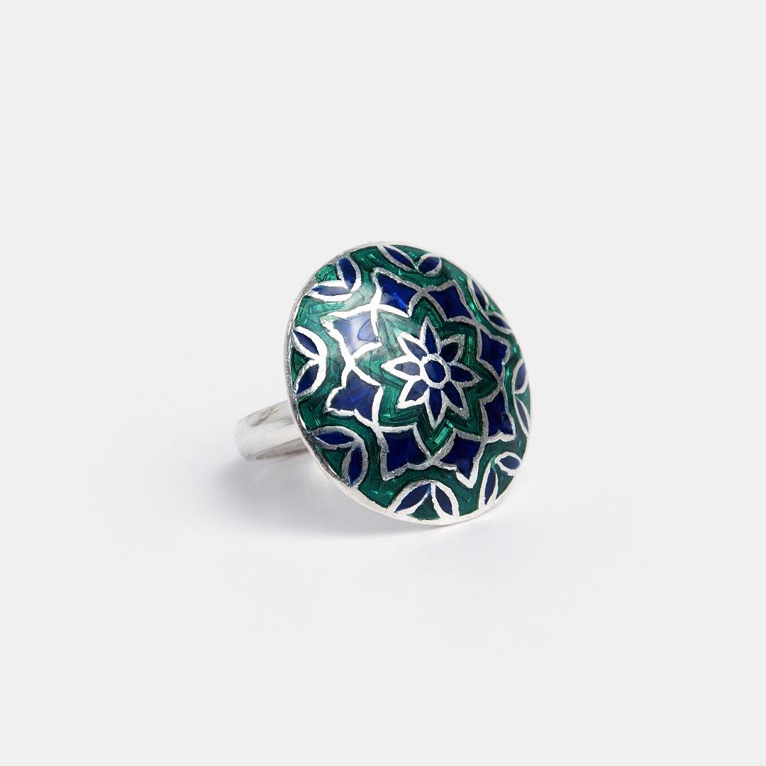 Inel din argint rotund Sundar cu email verde și albastru, India