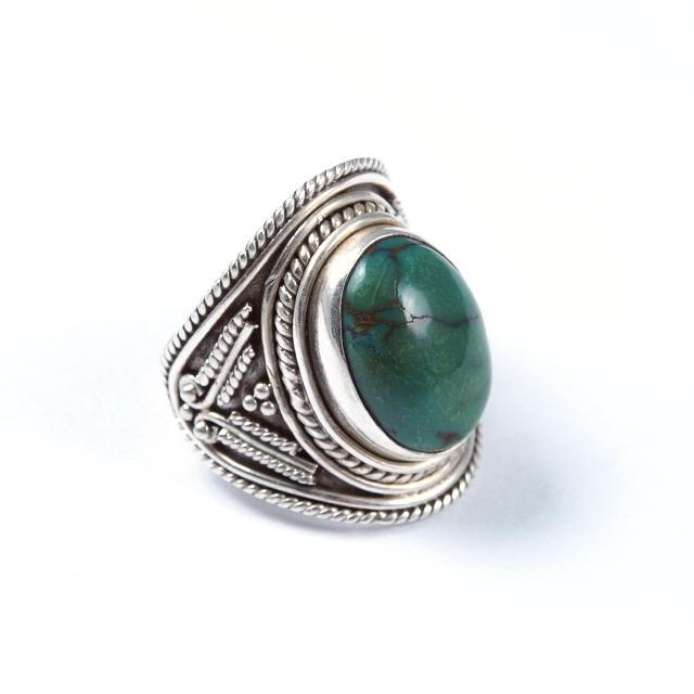 Inel argint și turcoaz tibetan oval, India